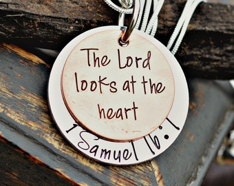 Bible Verse Necklace- Bible Verse Jewelry - Scripture Necklace - 1 Samuel 16:7 The Lord Looks at the Heart