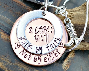 Hand Stamped Scripture Necklace Bible Verse 2 Corinthians 5:7 We Walk By Faith Not By Sight
