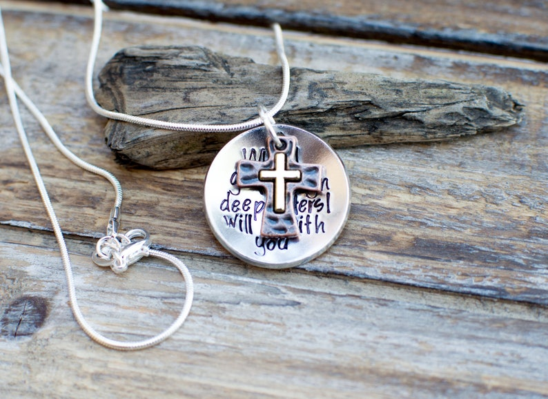 289cfb2af1dbb When you go through rough waters I will be with you bible verse necklace  bible verse jewelry scripture jewelry Isaiah 43: 2-3 christian gift