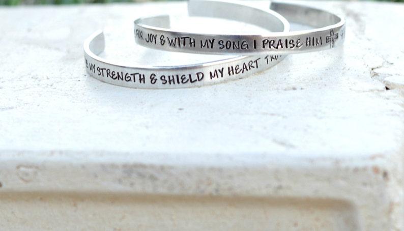 603b843204e48 Hand Stamped Prayer Cuff- Bible Verse Prayer Jewelry- Custom Christian  Prayer Bracelet- Psalms Jewelry- Psalm 28:7- The Lord is my Strength