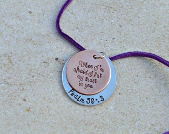 Bible Verse Jewelry Scripture Jewelry- Psalm 56 3 - Faith Jewelry - Baptism Gifts - children jewelry - children necklace - jewelry for teens