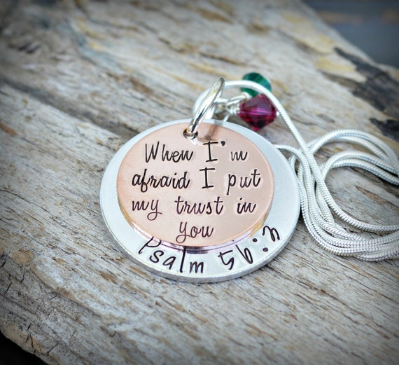 b54cecd8d3f1a Bible Verse Jewelry Scripture Jewelry - Psalm 56: 3 - Sister Necklace -  Best Selling Items - Heel lilies - heellilies - unique gifts for her