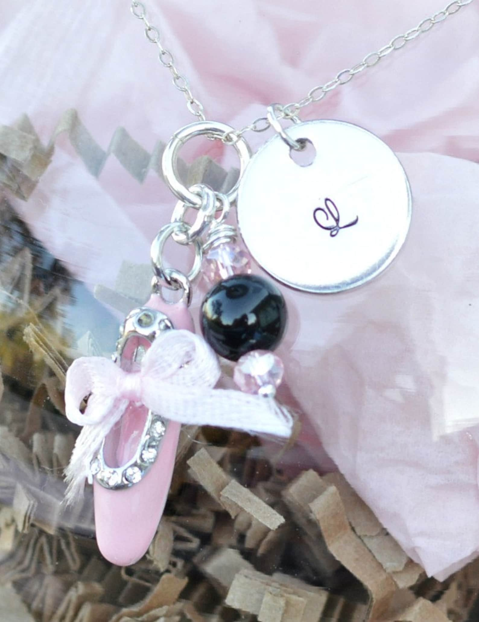 i sparkle on my tippy toes ballet shoes charm with pink and black beads first recital gift ballerina charm ballet mom first year