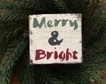 Merry & Bright - handmade rustic box sign