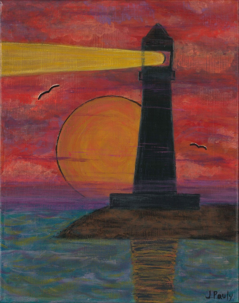 Lighthouse beacon at sunset on the waters edge shine at night for sailors  delight safety beacon for boats at sunset and nightfall