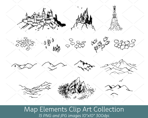 Hand Drawn Doodle Map Elements Symbols Mountain Clip Art Etsy
