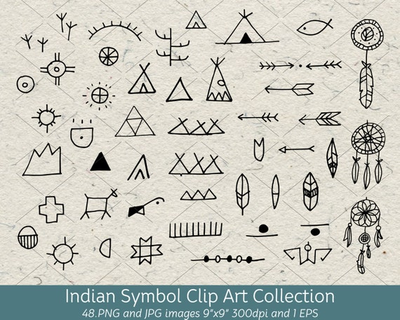 hand drawn doodle native american indian symbol clip art rh etsy com Native American Feather Clip Art native american indian symbols clip art