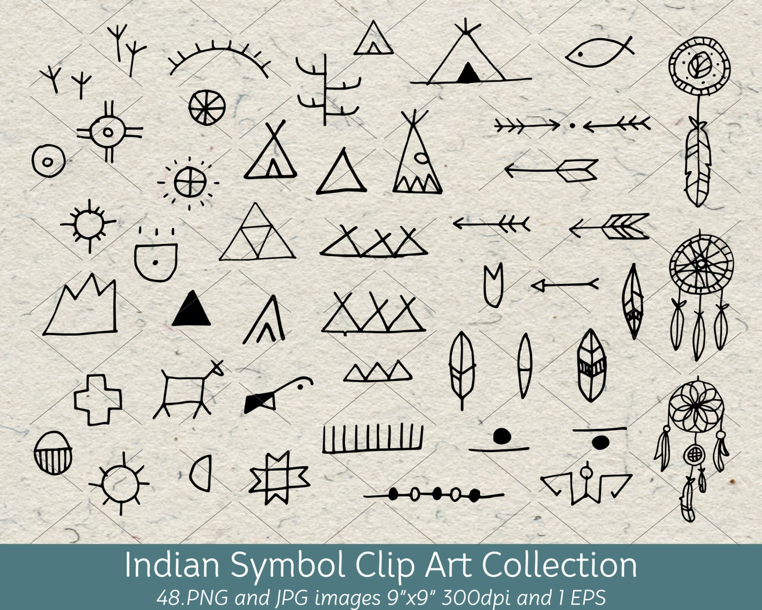 Hand Drawn Doodle Native American Indian Symbol Clip Art Etsy