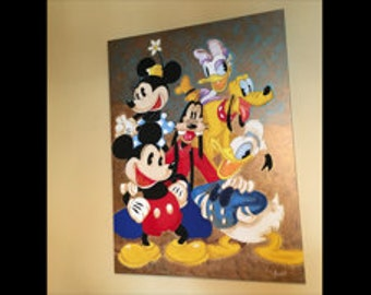 Disney characters Acrylic on Canvas Painting 40x30 inches