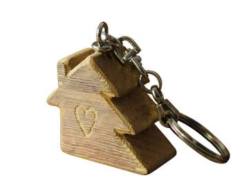 "Keychain ""HOUSE & TREE"" Siberian larch wood"