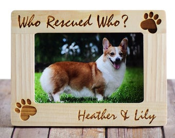 01fffe40db28 Who Rescued Who Personalized Pet Picture Photo Frame- Custom Picture Frame-  Pet adoption frames- Pet lover gifts- Dog Frame- Cat Frame