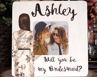 Will You Be My Bridesmaid Gift/ Will you be my Maid of Honor Gift/ Bridesmaid Frame/ MOH gift/ Unique Bridesmaid Gift/ Robes Wedding