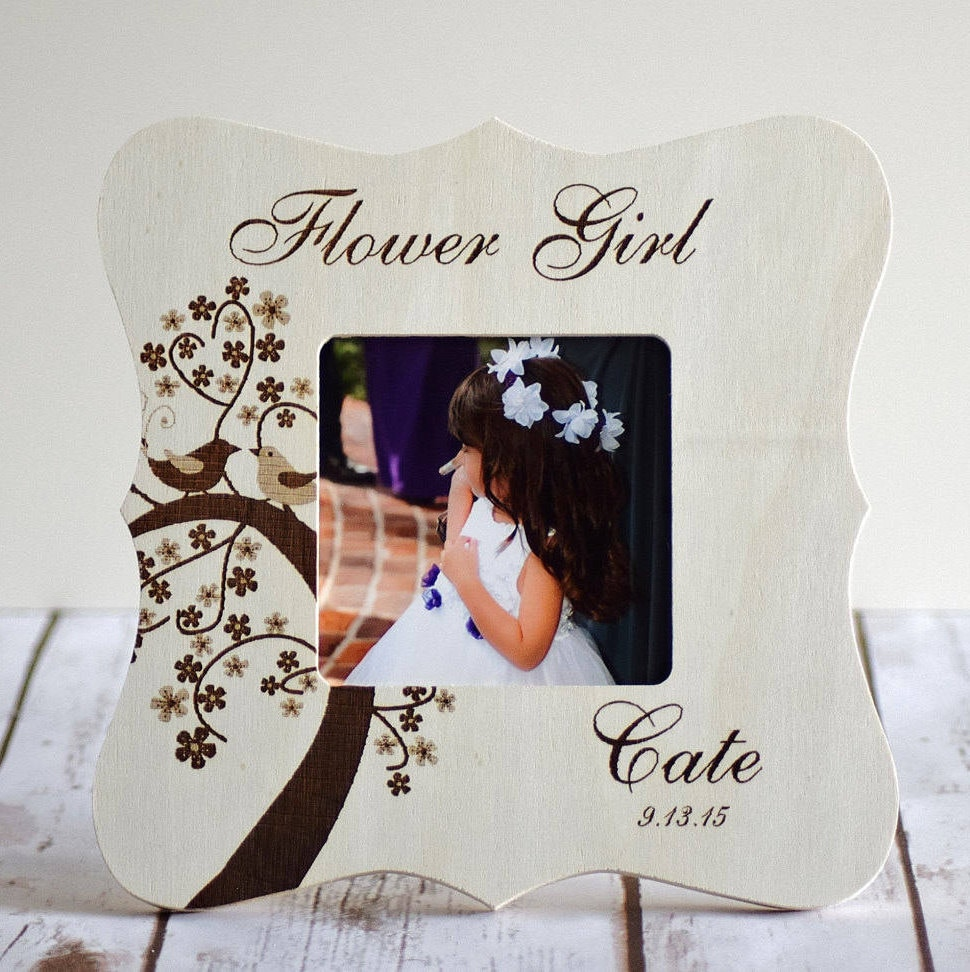 Personalized Flower Girl Picture Frame Wood Engraved Custom Etsy