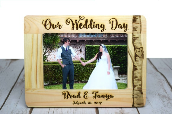 Personalized Wedding Frame Wood Burned Picture Frame Rustic Etsy