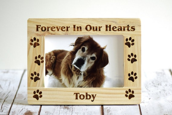 Pet Memorial Frame Forever In Our Hearts Paw Prints Etsy