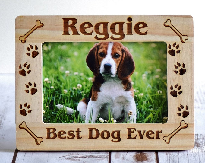Birthday Gift Personalized Best Golden Retriever Ever Engraved Wood Picture Frame 4x6 or 5x7 Custom Text Dog Pet Owner Gift