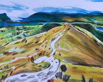 Yellow Mountain A3 Original Drawing