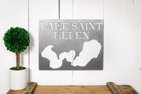 Lake Saint Helen Michigan Steel Lake Map Etsy