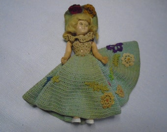 Old Doll ,  Small Doll , Doll with dress.  Vintage Doll.