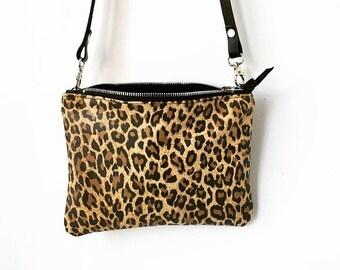 6741b31f56ff Leopard Crossbody Bag / Leather Bag / Leather purse / Leopard print leather  bag / Black and leaopard Bag / Leaopard Print Clutch