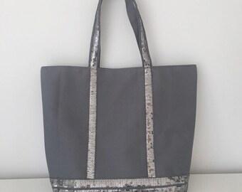 d655b3b4b3 Grey canvas tote bag   sequins bag   grey shopper   grey cotton handbag    grey tote bag