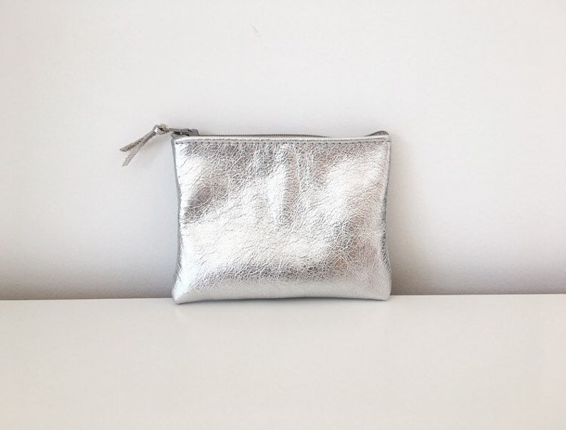 3b6c4c3a8 Silver Leather Coin Pouch / Leather coin purse / Leather coin | Etsy