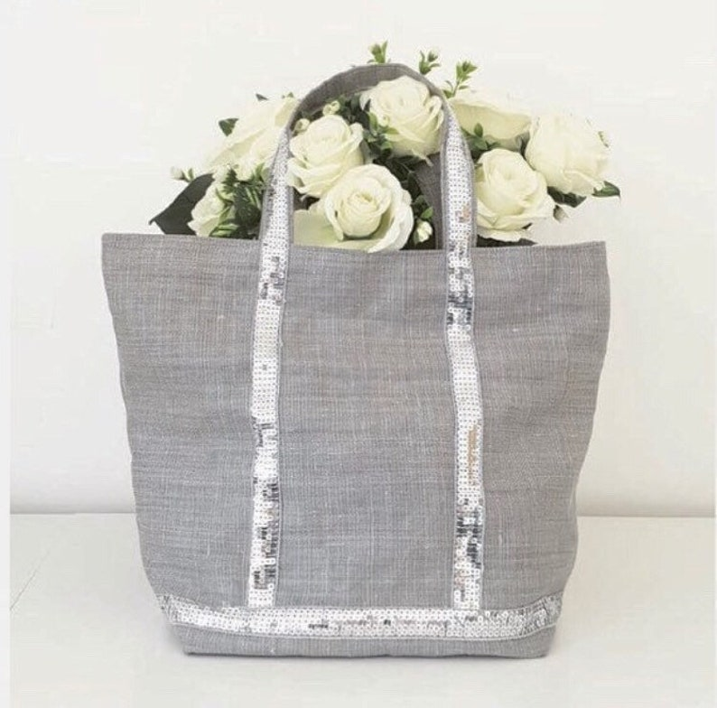 Heavy Linen Tote Bag Sequins Silver Grey BeachEtsy xdBWrCoe