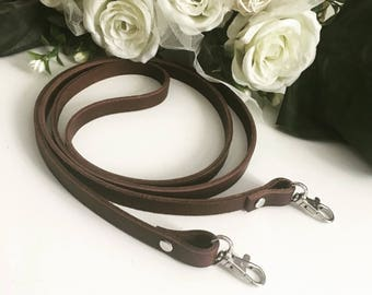 Handmade brown real genuine leather strap crossbody bag replacement