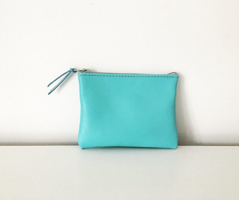 Blue Leather Coin Pouch  Leather coin purse  Leather coin holder  blue Leather pouch  small Wallet  turquoise blue  change purse