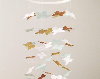 The Lucy Mobile // Mint, White and Gold Butterflies