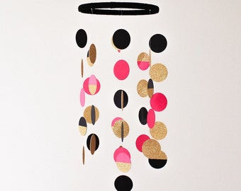 The Jane Mobile // Black, Pink and Gold Shimmering Dots