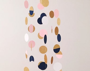 The Everly Mobile // Navy, Pink, White and Gold Shimmering Dots
