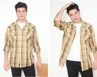 Vintage Plaid shirt Men's Pearl Snap