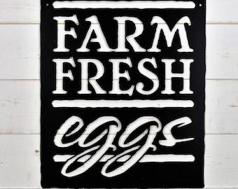 Farm Fresh Eggs Metal Sign, Farm Style, Wall Art, Kitchen Sign