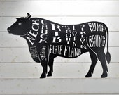 Cow, Steer, Butcher Shop Sign, Beef Meat Chart, Butcher Diagram, Meat Cuts, Kitchen Wall Art Metal Sign