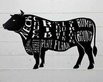 Cow Steak Diagram | Butcher Chart Etsy