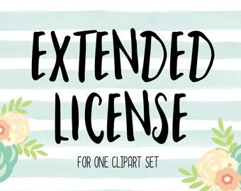 EXTENDED LICENSE for 1 Clipart Set
