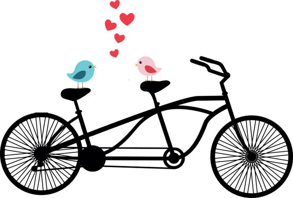 tandem bicycle clipart love birds wedding invitation rh etsy com wedding tandem bike clipart tandem bicycle clipart free
