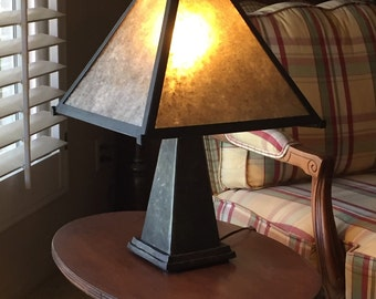 Table lamp with mica shade in the cratsman style.