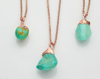 Turquoise Pendant Necklace / Natural Crystal Necklace / Raw Stone Jewelry / December Birthstone Necklace / Raw Turquoise Pendant