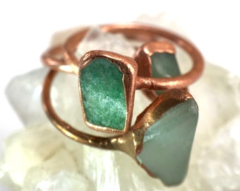 Raw Stone Ring /// Green Aventurine and Copper Electroformed Rings ///  Prosperity Stone Ring /// Boho Jewelry