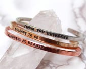 Personalized Cuff Bracelet // Custom Personalized Skinny Cuff // Inspirational Bracelets // Hand Stamped Mantra // Stamped Cuff //