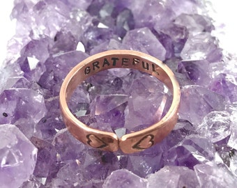 Grateful // Stamped Ring // Copper Ring // Stamped Intentions // Secret Message Ring // Stacking Ring // Inspirational Quote