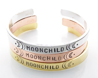 96ff9439e14 Moonchild Cuff / Silver Friendship Bracelet / Wiccan Stacking Bracelet /  Confidence Jewelry / Inspirational Mantra Band / Hand Stamped Cuff