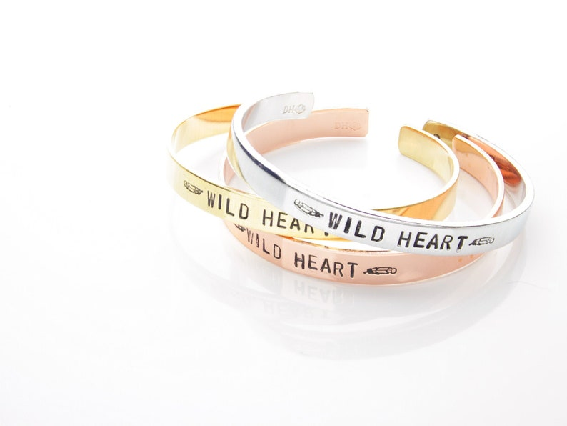 Wild Heart Cuff / Silver Friendship Bracelet / Stacking Bracelet /  Confidence Jewelry / Inspirational Mantra Band / Hand Stamped Cuff