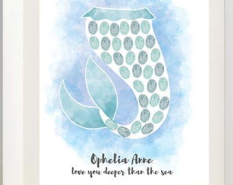 Mermaid Tail Baby Shower Thumbprint Tree Guestbook Alternative Print - Digital File Only