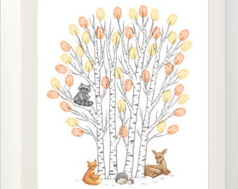 Woodland Animals Thumbprint Tree Baby Shower Guestbook Print - Digital File Only