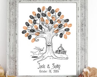Nightmare Before Christmas Thumbprint Tree Guestbook Print - Digital File Only