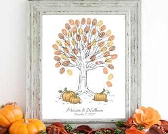 Fall Wedding Guestbook Pumpkin Patch Autumn Fingerprint Tree - Digital File Only