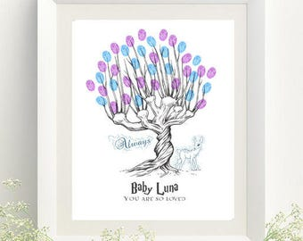 Harry Potter Baby Shower Whomping Willow Thumbprint Tree Guestbook  - Digital File Only